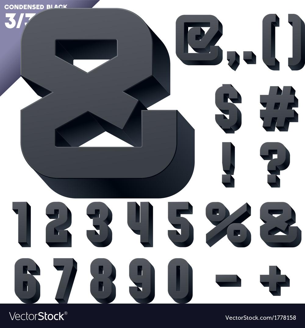 Three-dimensional condensed alphabet vector | Price: 1 Credit (USD $1)