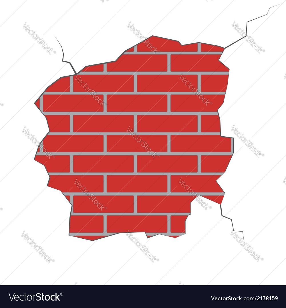 Brick wall with the damaged plaster vector | Price: 1 Credit (USD $1)