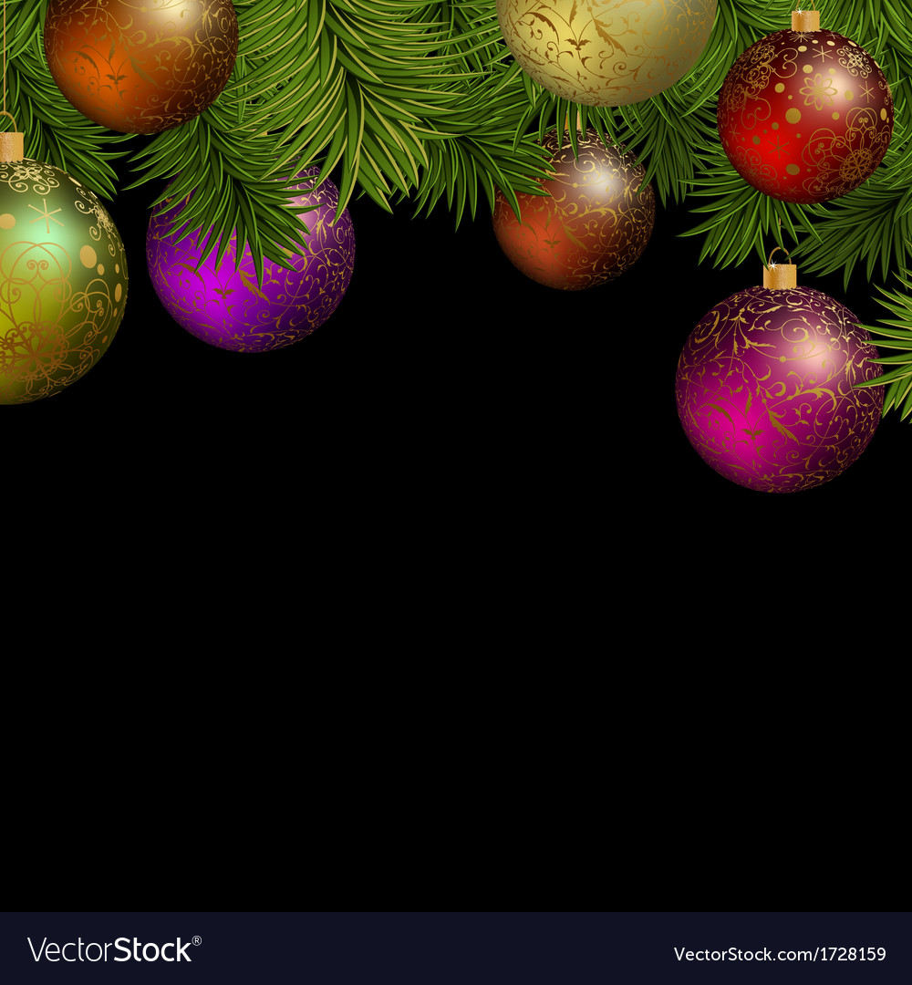 Christmas greeting card with colorful balls vector | Price: 1 Credit (USD $1)