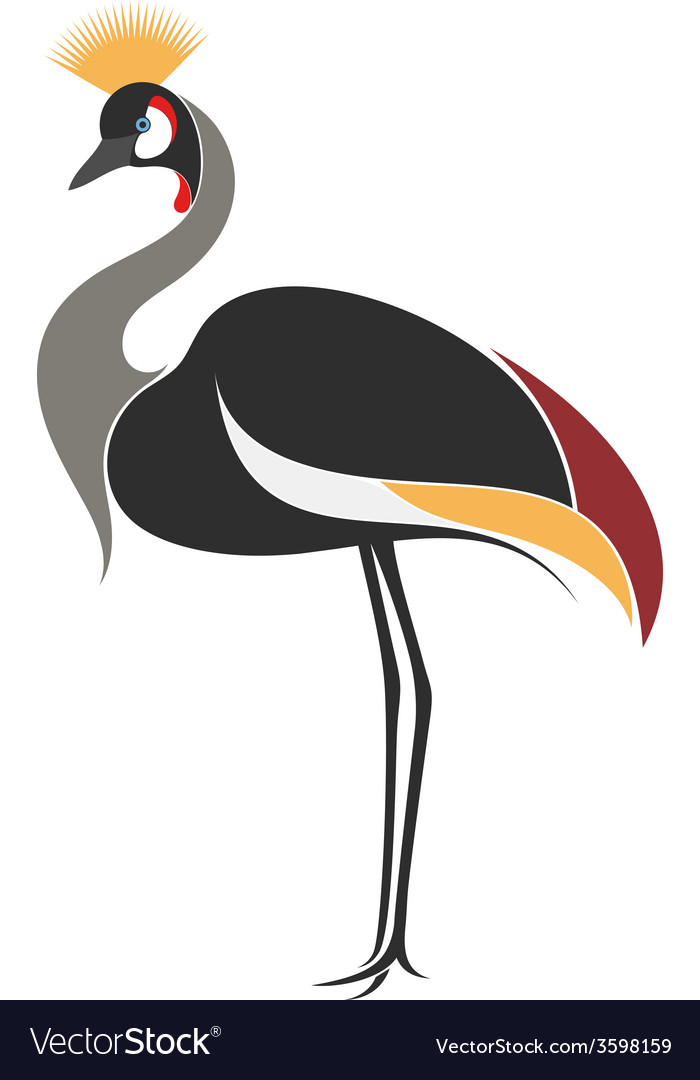 Crowned crane vector | Price: 1 Credit (USD $1)