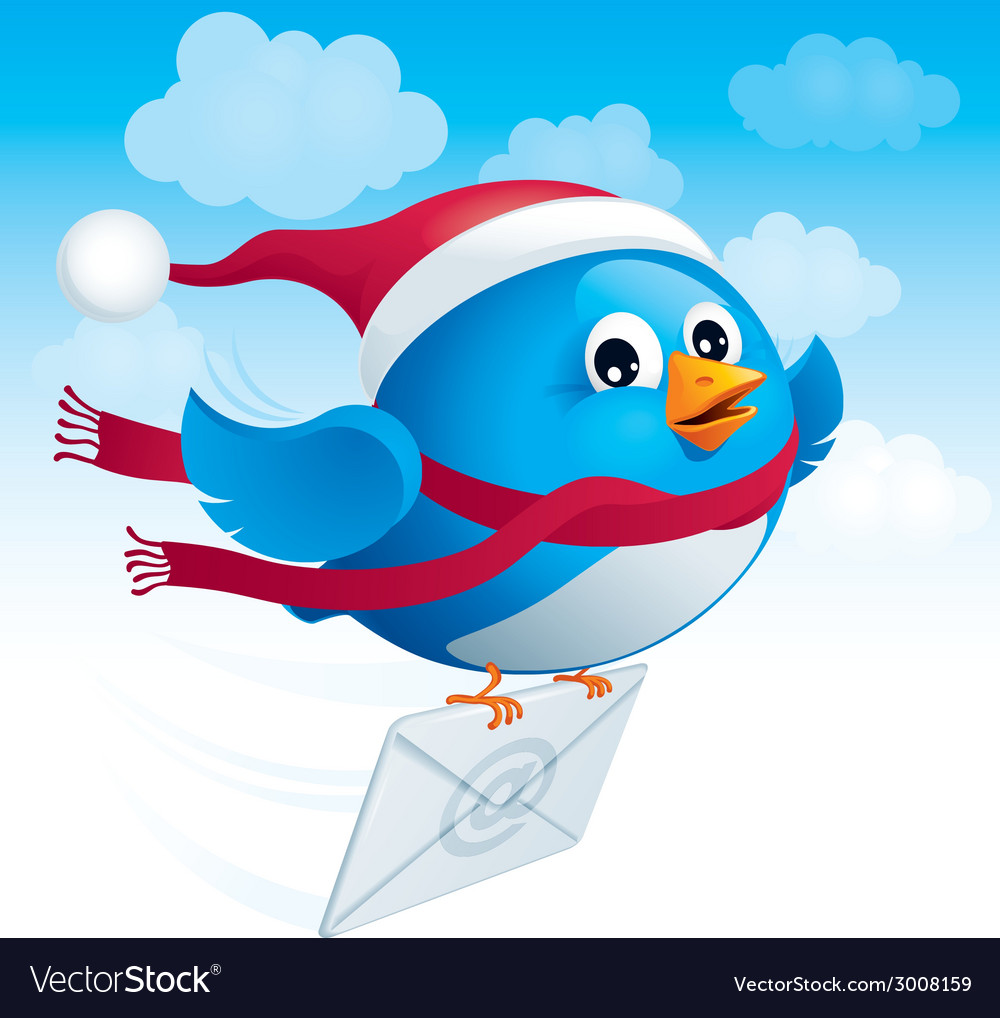 Flying blue bird with envelope vector | Price: 1 Credit (USD $1)