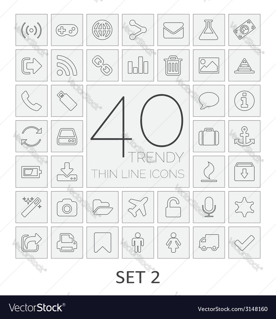 40 thin line icons set 2 vector | Price: 1 Credit (USD $1)