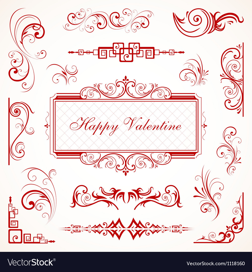 Abstract floral valentine decorative ornaments vector | Price: 1 Credit (USD $1)