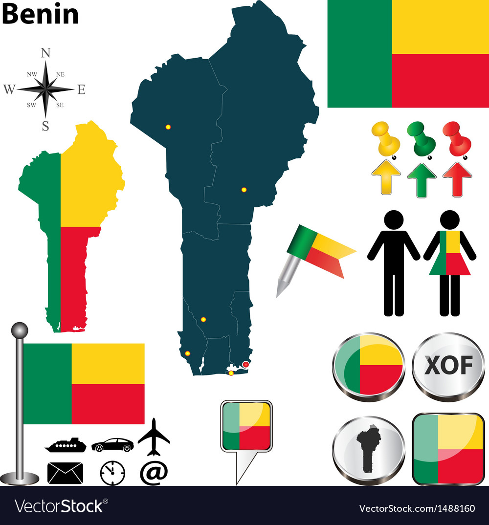 Benin map vector | Price: 1 Credit (USD $1)