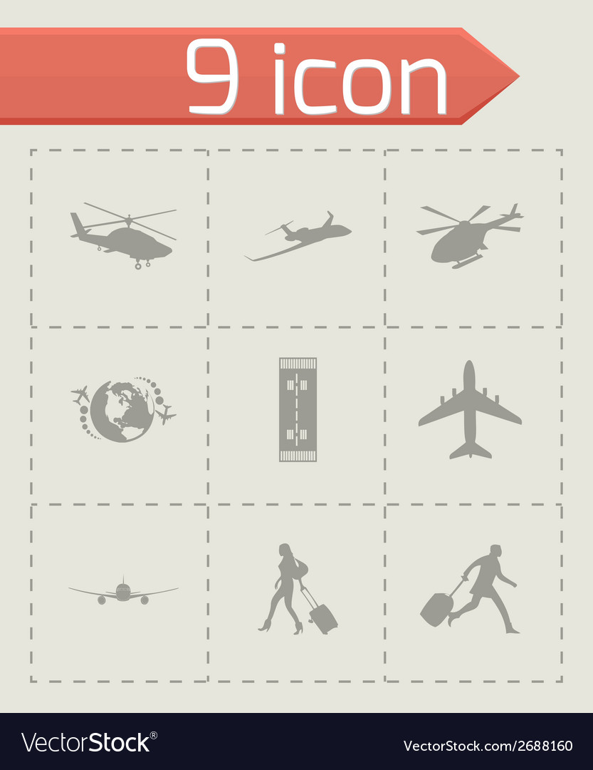 Black airport icons set vector | Price: 1 Credit (USD $1)