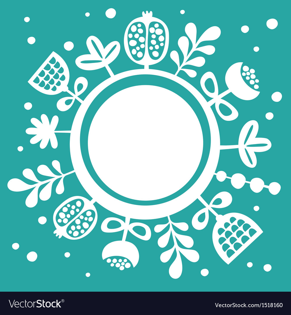 Card with round banner and floral background vector | Price: 1 Credit (USD $1)