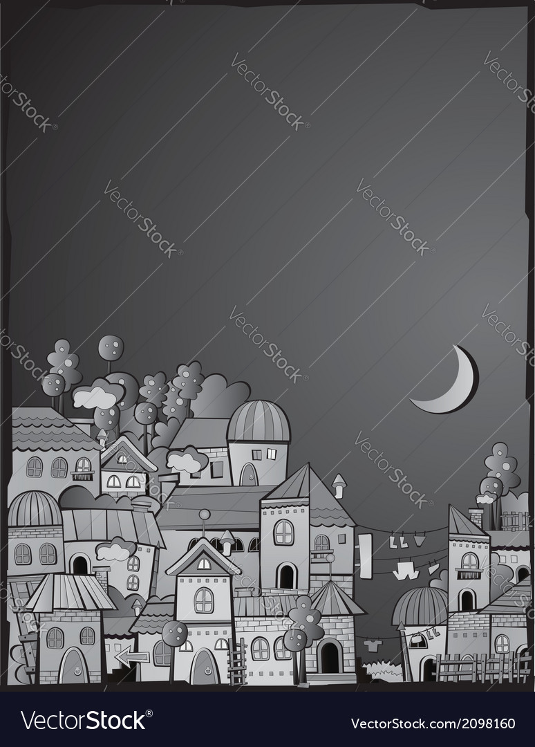 Cartoon construction night town vector | Price: 1 Credit (USD $1)