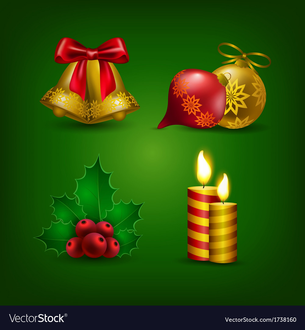 Collection of colorful christmas bauble vector | Price: 1 Credit (USD $1)