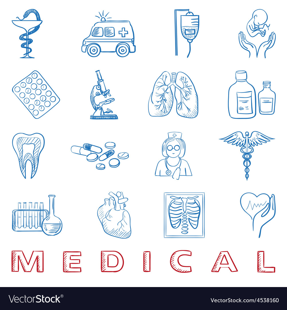 Hand draw doodle health care and medicine icon vector | Price: 1 Credit (USD $1)
