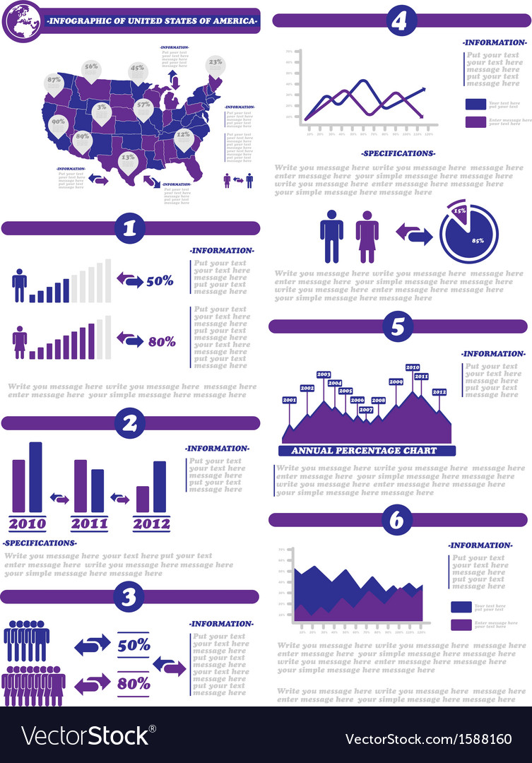 Infographic demographics of states of america vector   Price: 1 Credit (USD $1)