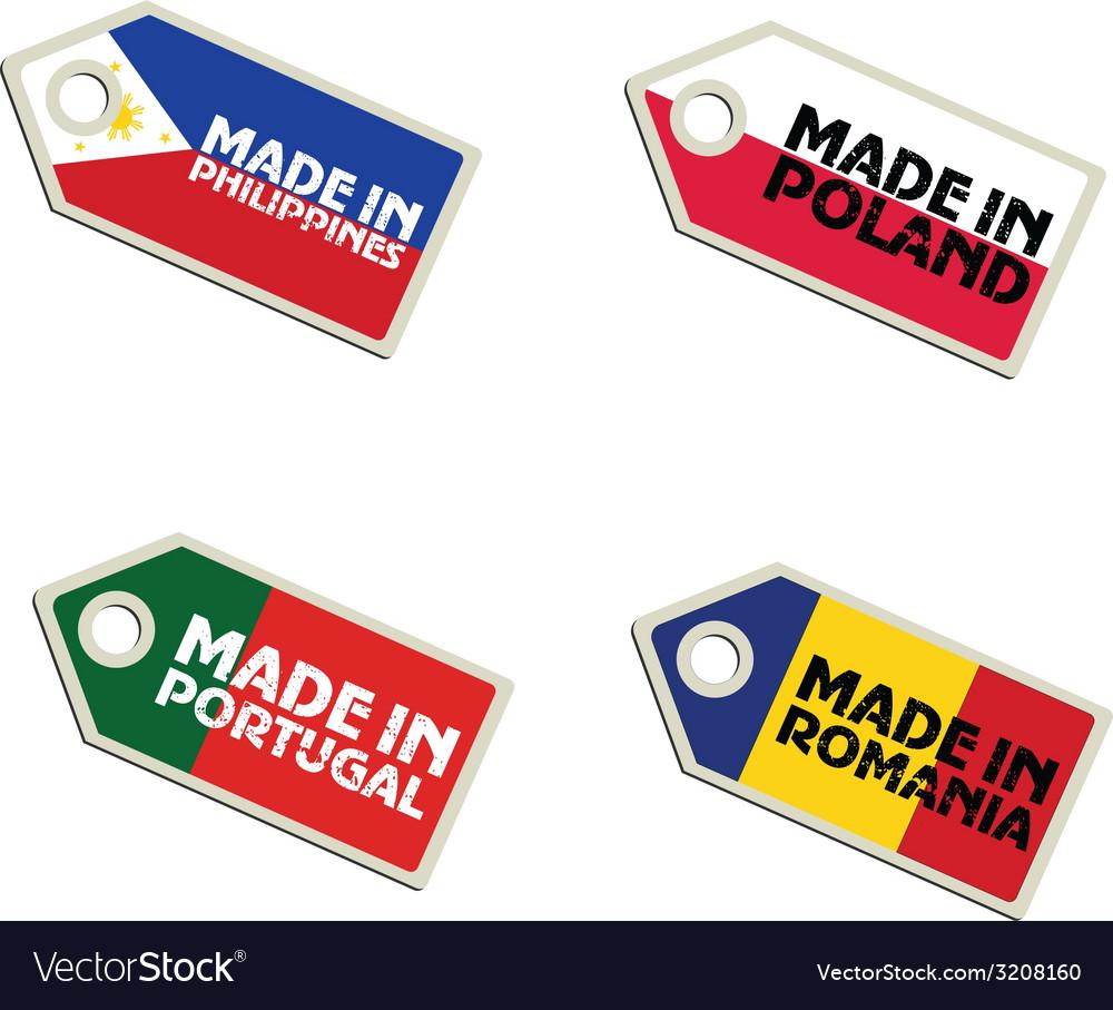 Label made in philippines poland portugal romania vector | Price: 1 Credit (USD $1)