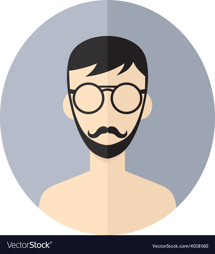 Man hipster avatar user picture cartoon character vector | Price: 1 Credit (USD $1)