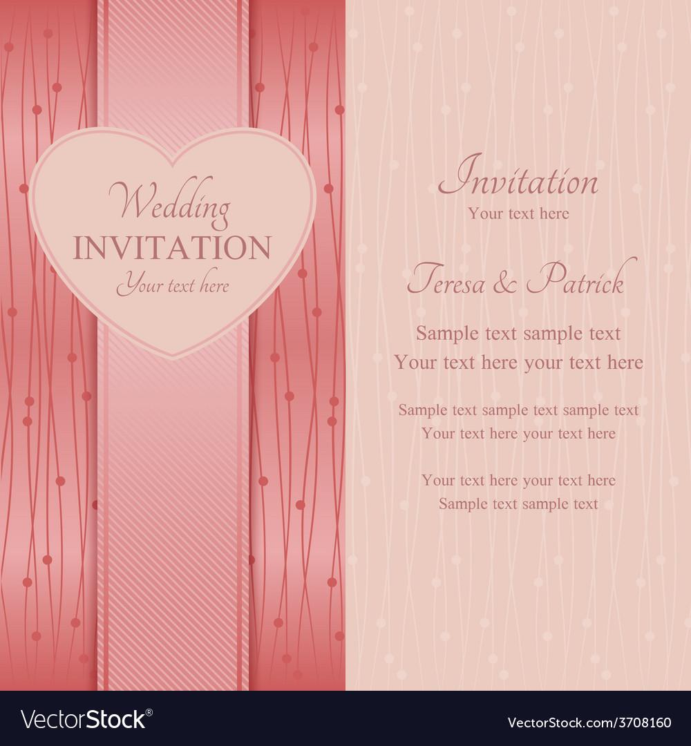 Modern wedding invitation pink vector | Price: 1 Credit (USD $1)