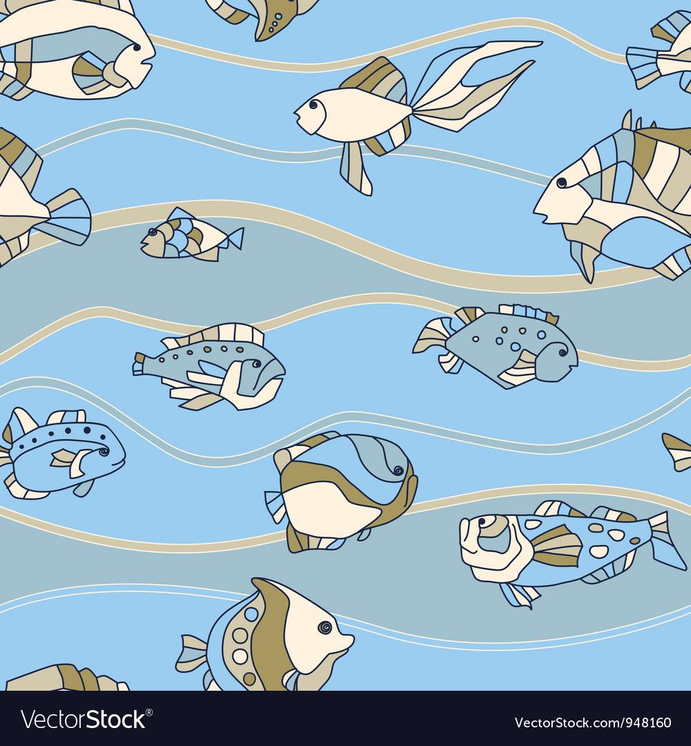 Seamless pattern aquarium fish wave vector   Price: 1 Credit (USD $1)