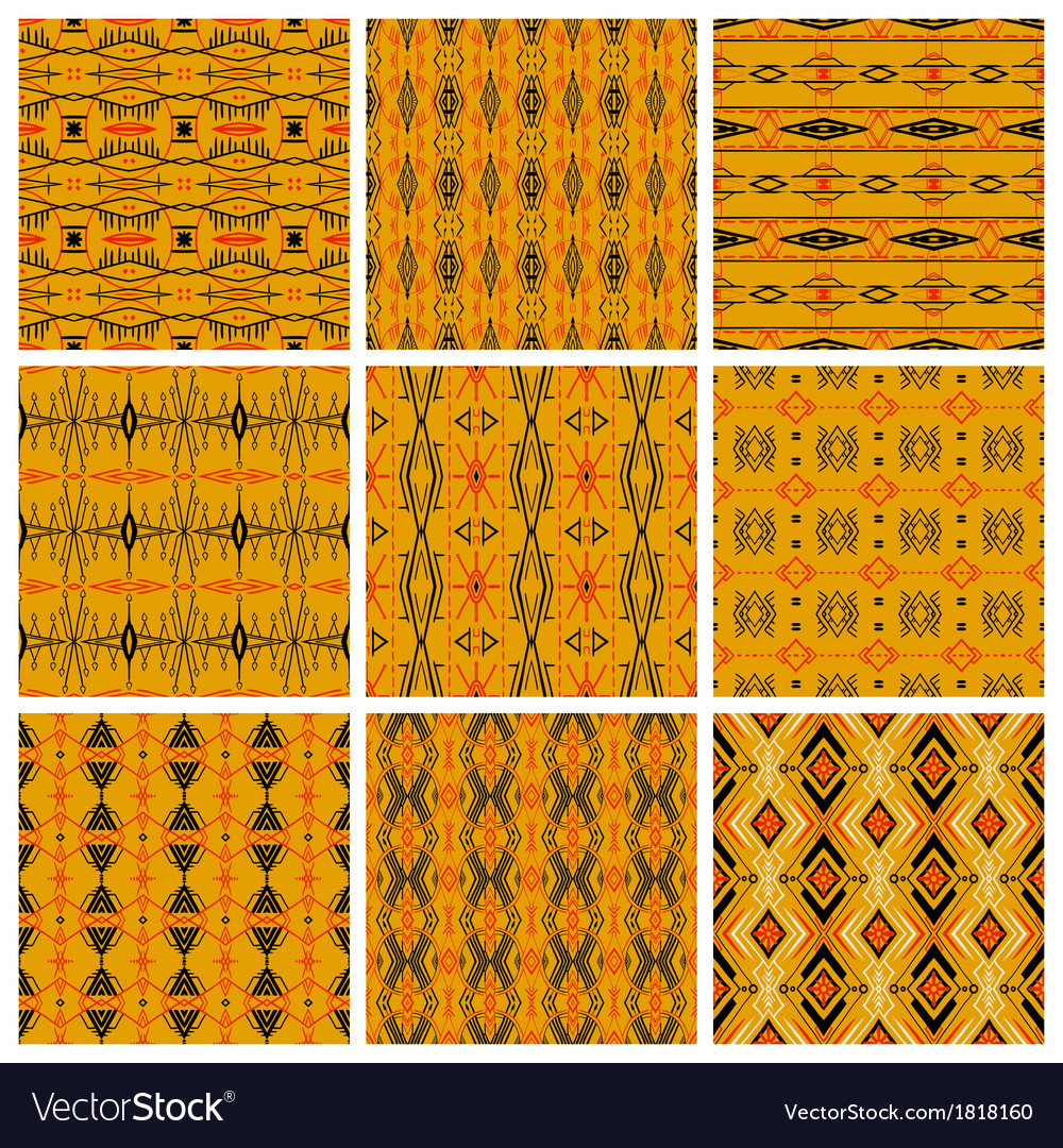Set of nine tribal patterns vector | Price: 1 Credit (USD $1)