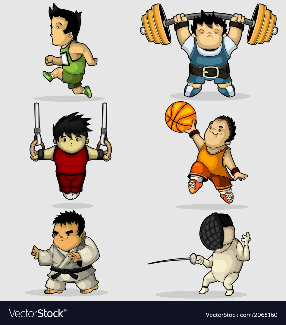 Six characters engaged in various sports vector | Price: 1 Credit (USD $1)