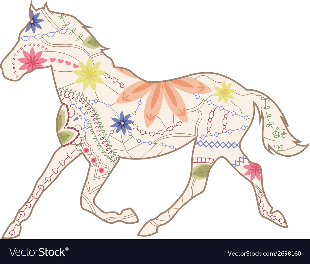 Vintage horse runs trot vector | Price: 1 Credit (USD $1)