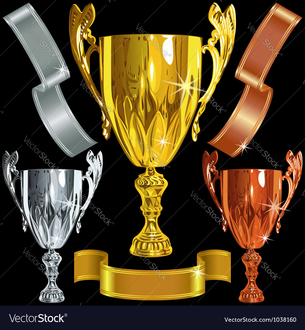 Winning gold silver bronze cups vector | Price: 3 Credit (USD $3)