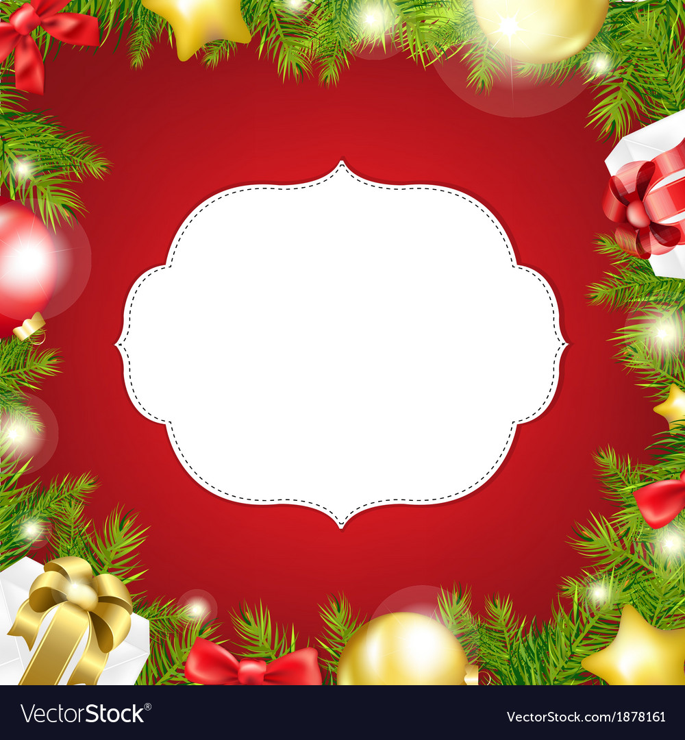 Christmas background with label and ribbon vector | Price: 1 Credit (USD $1)