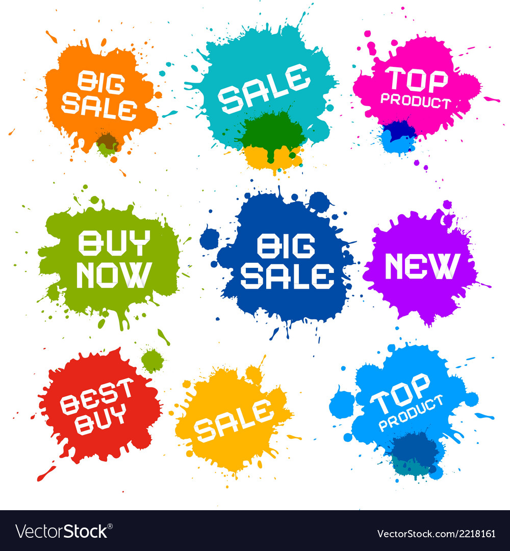 Colorful grunge sale splash blots icons vector | Price: 1 Credit (USD $1)