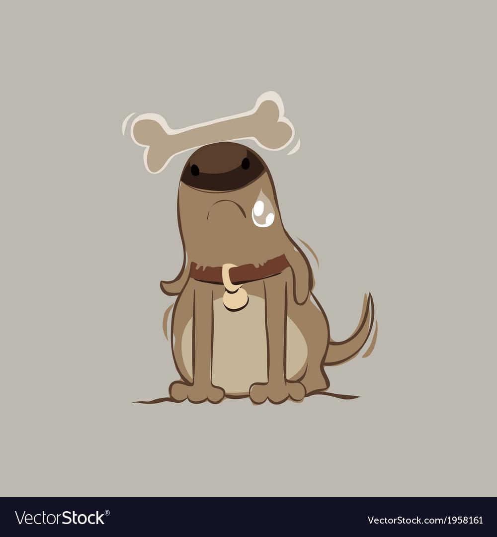 Dog with bone vector   Price: 1 Credit (USD $1)