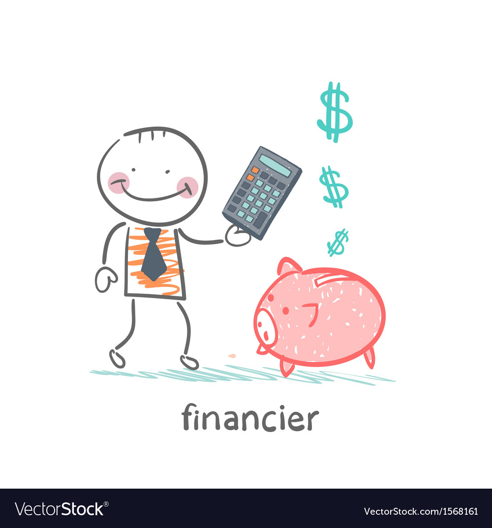 Financier with a calculator and piglets piggy bank vector | Price: 1 Credit (USD $1)
