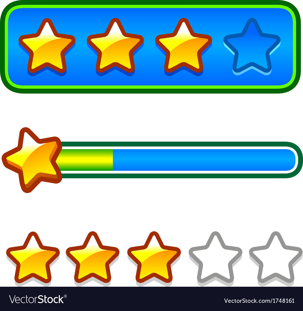 Progress bar set with stars vector | Price: 1 Credit (USD $1)