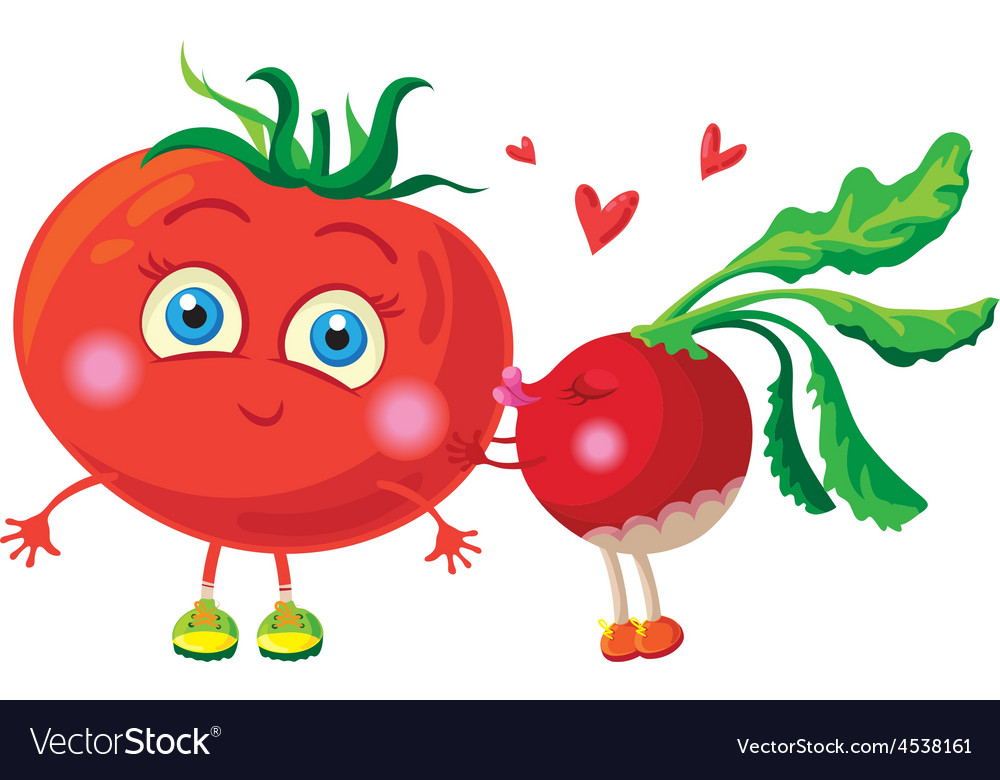 Radish in love with tomato characters vector   Price: 1 Credit (USD $1)