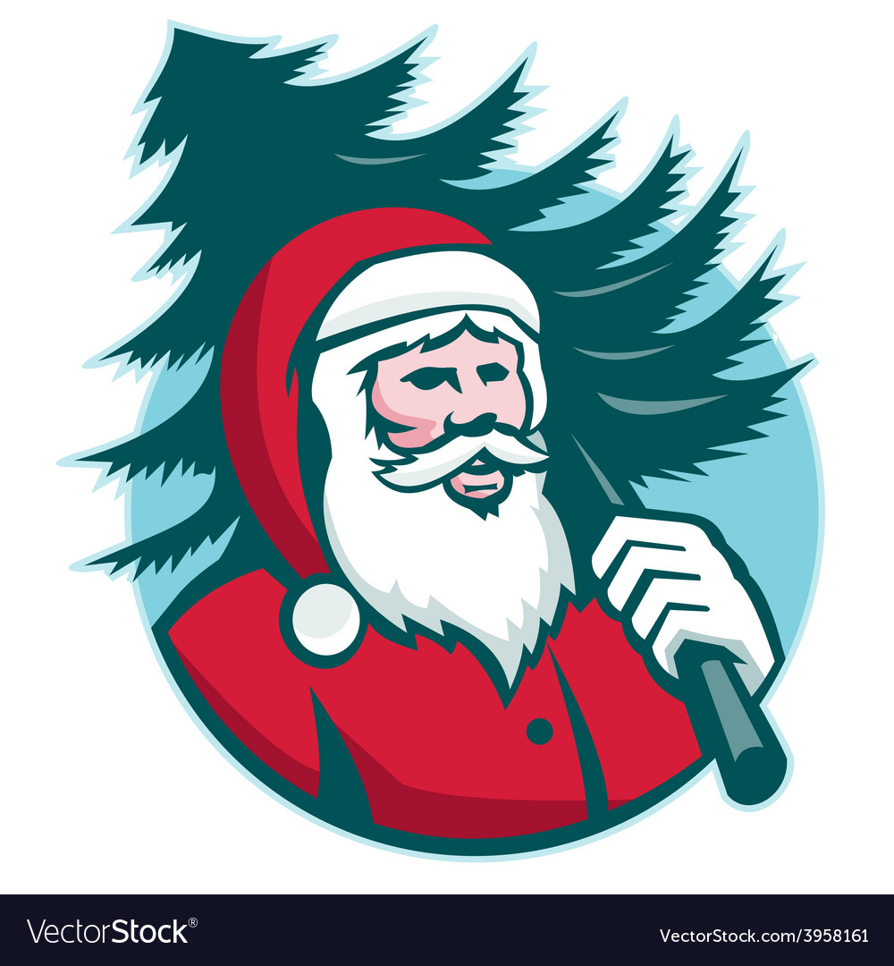 Santa claus carrying christmas tree retro vector | Price: 1 Credit (USD $1)
