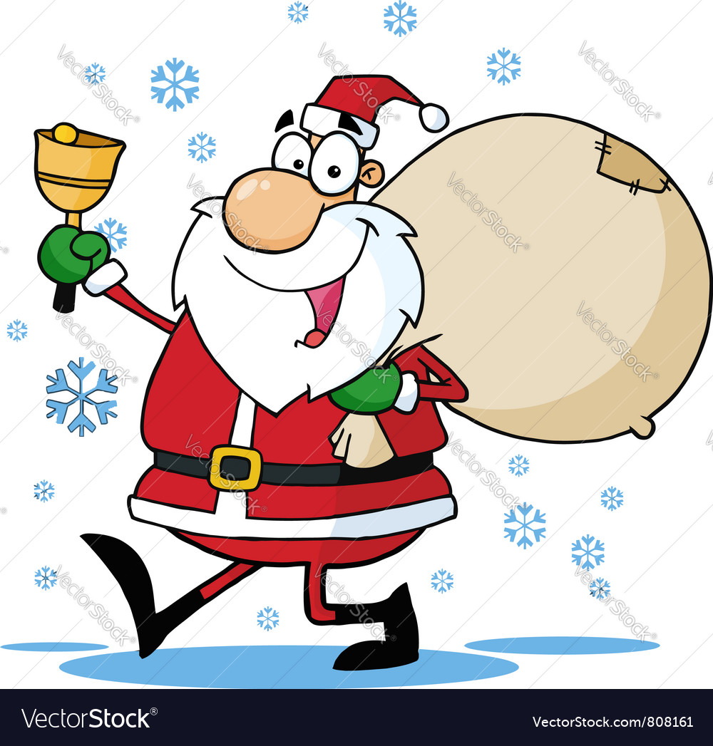 Santa waving a bell and walking with his toy sack vector | Price: 1 Credit (USD $1)