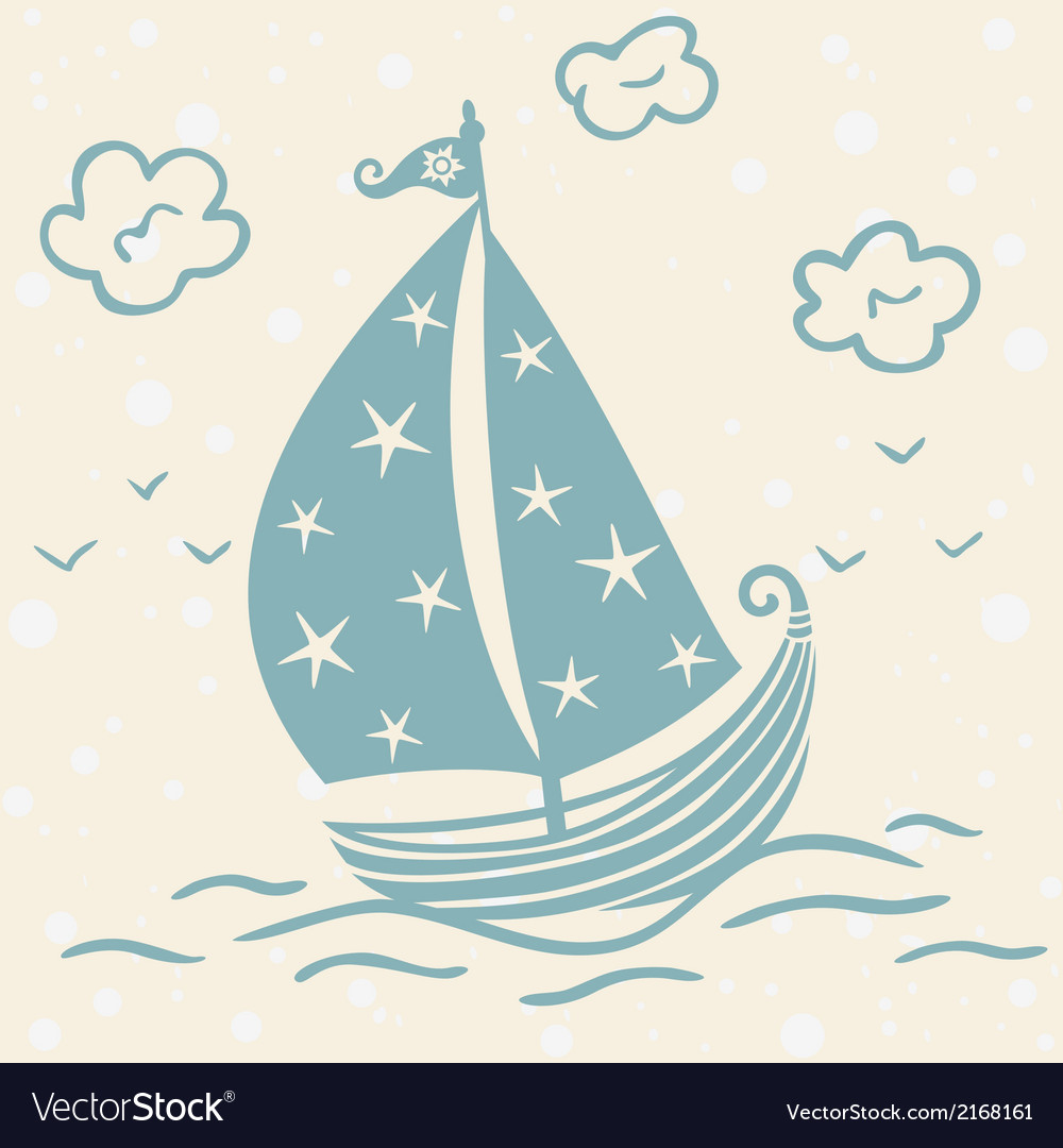 Ship beautiful silhouette vector | Price: 1 Credit (USD $1)