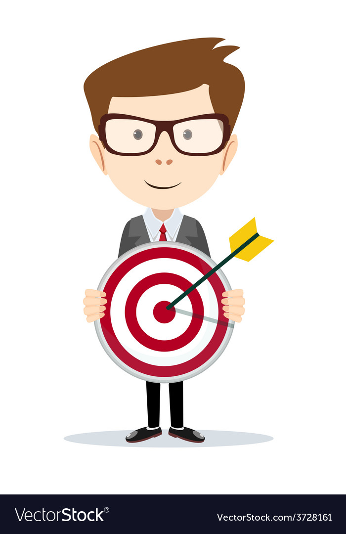 Successful businessman or teacher holding a target vector | Price: 1 Credit (USD $1)