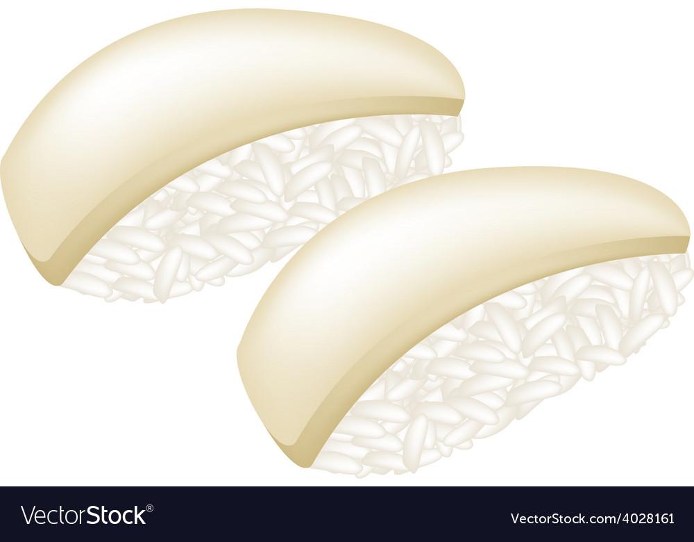 Tako sushi or squid nigiri on white vector | Price: 1 Credit (USD $1)