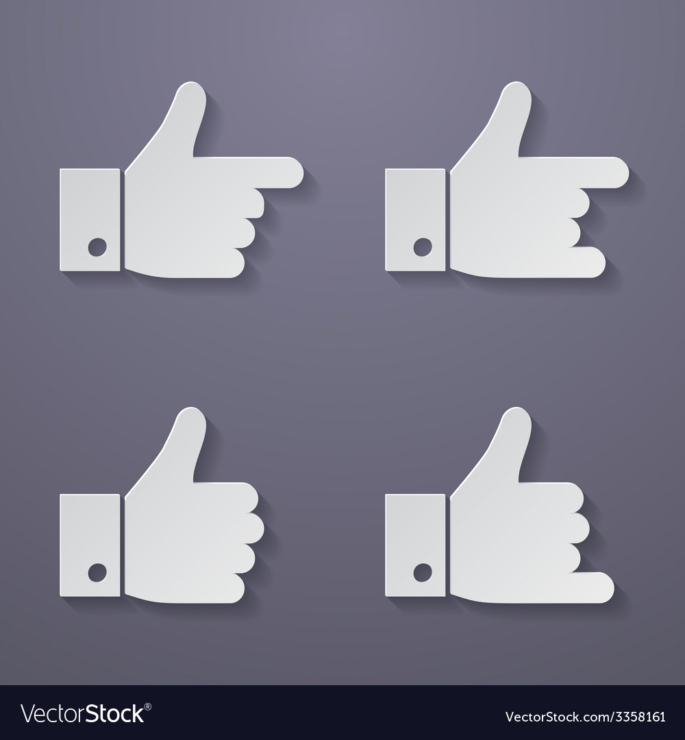 Thumbs up icon set vector | Price: 1 Credit (USD $1)