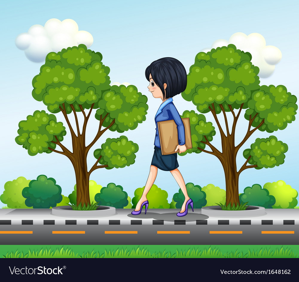 A girl walking at the street seriously with vector | Price: 1 Credit (USD $1)