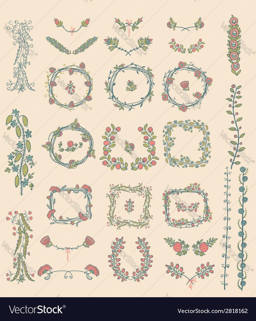 Big set of floral graphic design elements vector | Price: 1 Credit (USD $1)