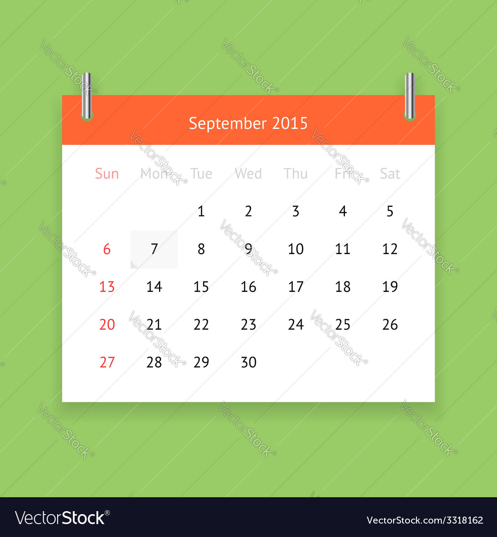 Calendar page for september 2015 vector   Price: 1 Credit (USD $1)
