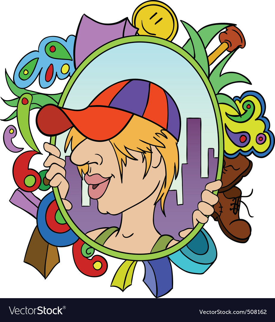 Cartoon teen in cap with abstract urban background vector | Price: 1 Credit (USD $1)