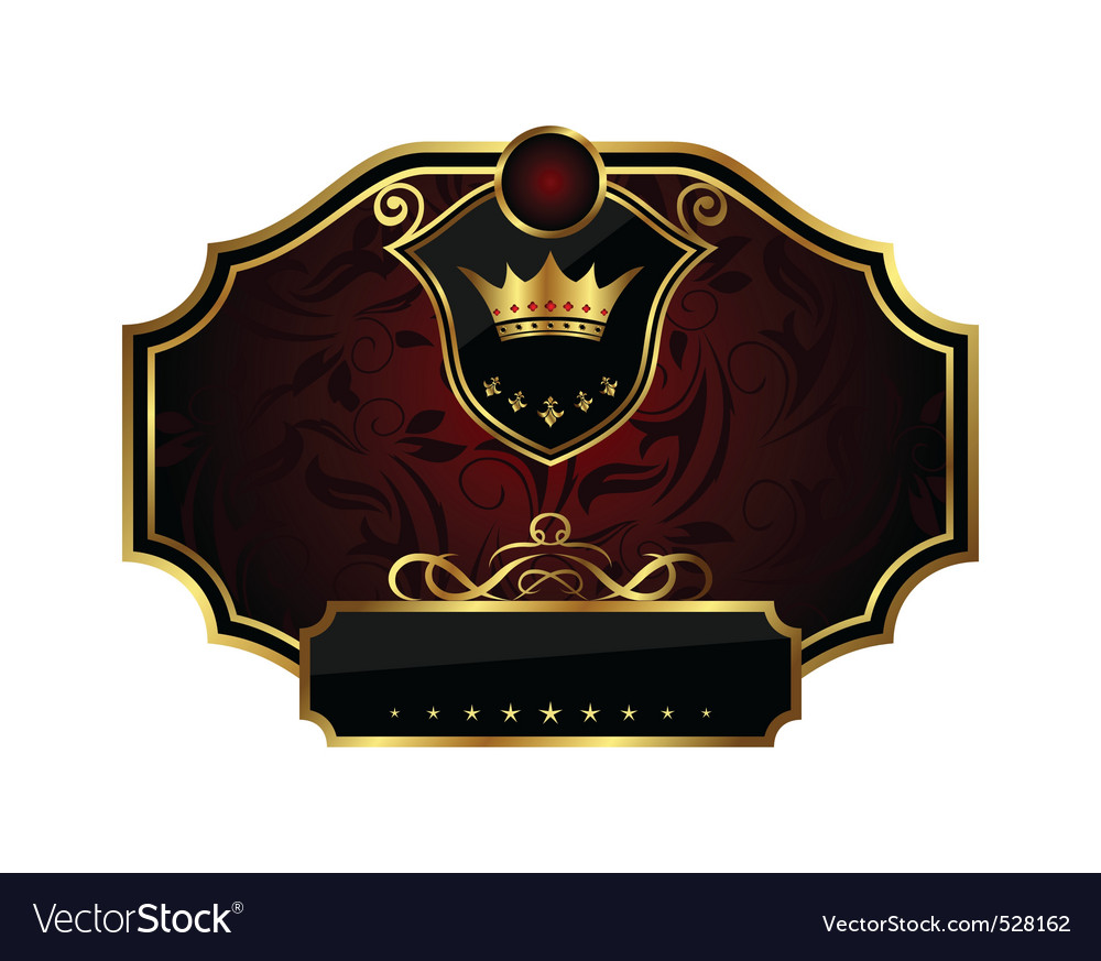 Golden frame label with crown vector | Price: 1 Credit (USD $1)