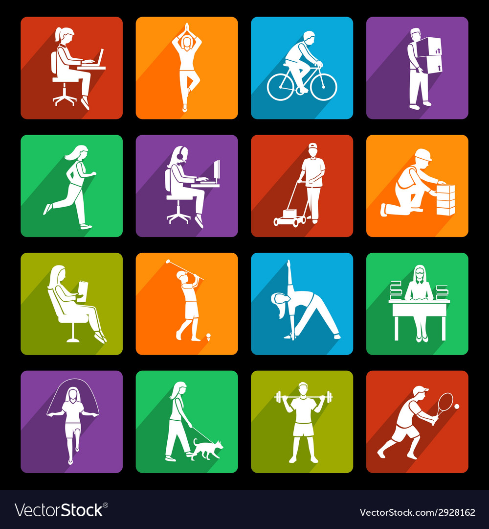 Physical activity icons flat vector | Price: 1 Credit (USD $1)