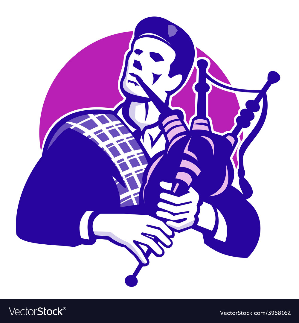 Scotsman scottish bagpiper playing bagpipes vector | Price: 1 Credit (USD $1)