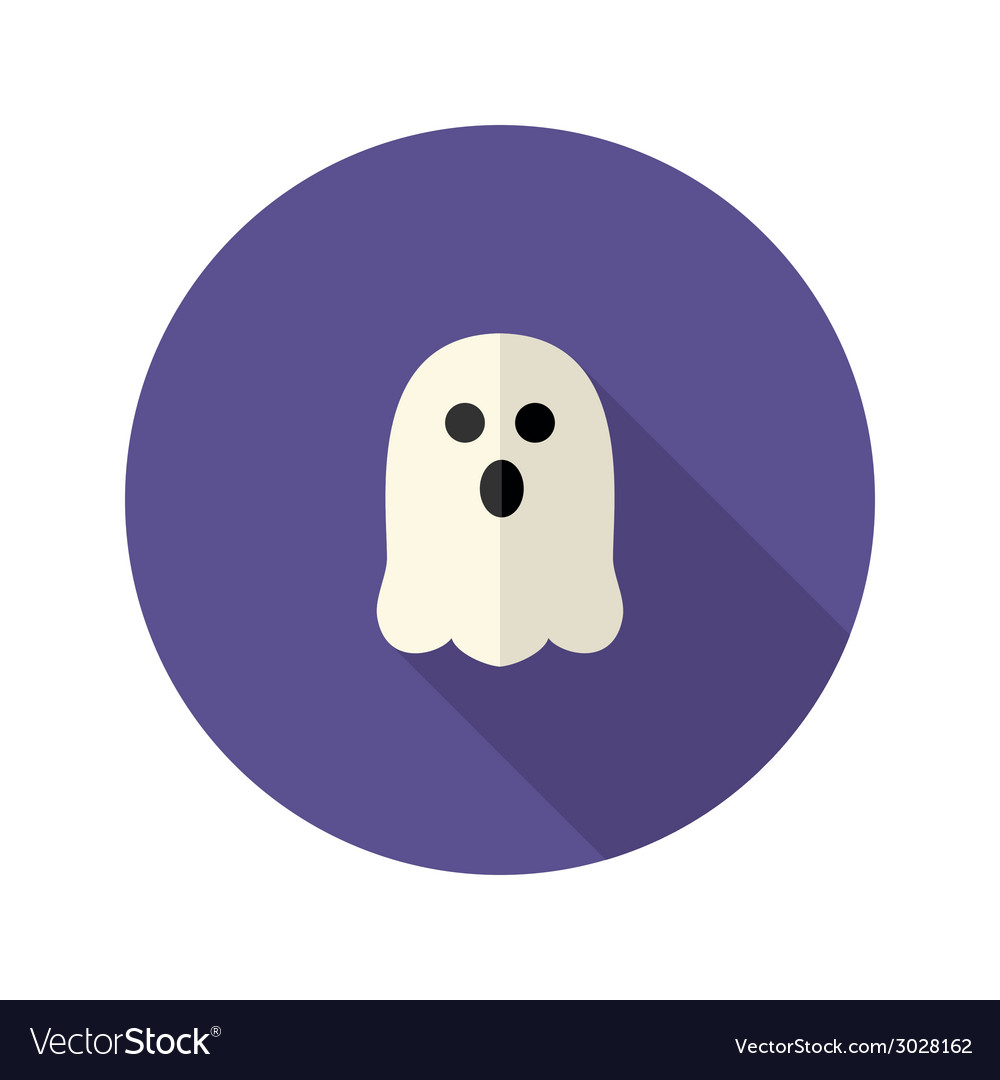White scary ghost flat icon vector | Price: 1 Credit (USD $1)