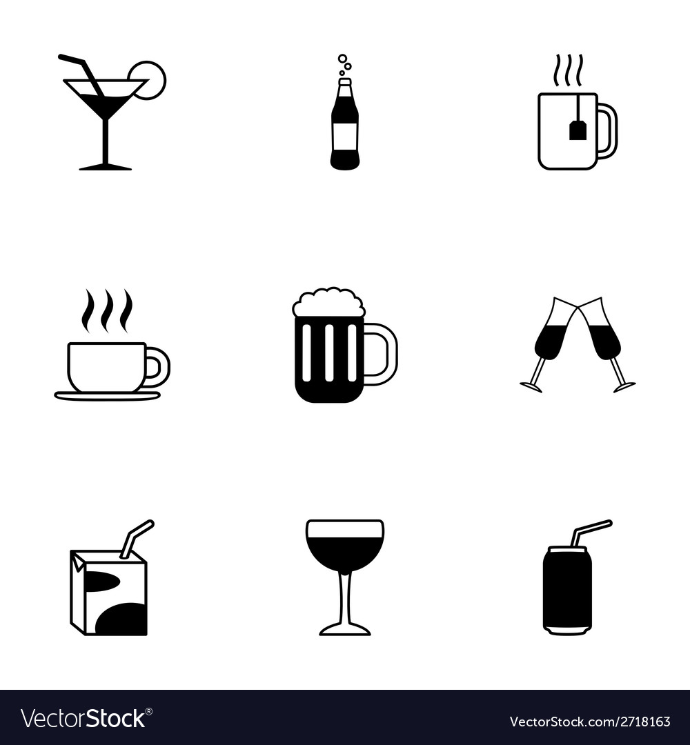 Black beverages icons set vector | Price: 1 Credit (USD $1)