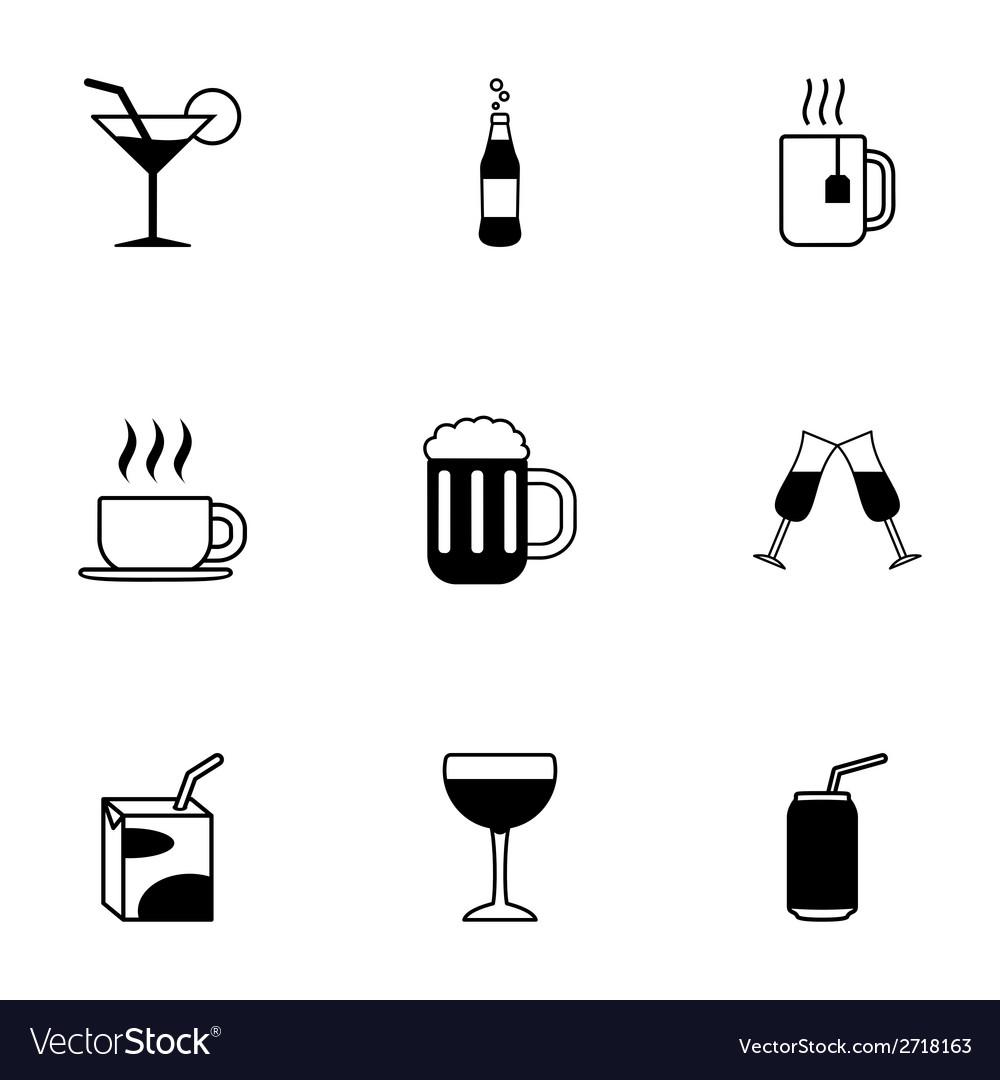 Black beverages icons set vector | Price: 1 Credit (USD $1)