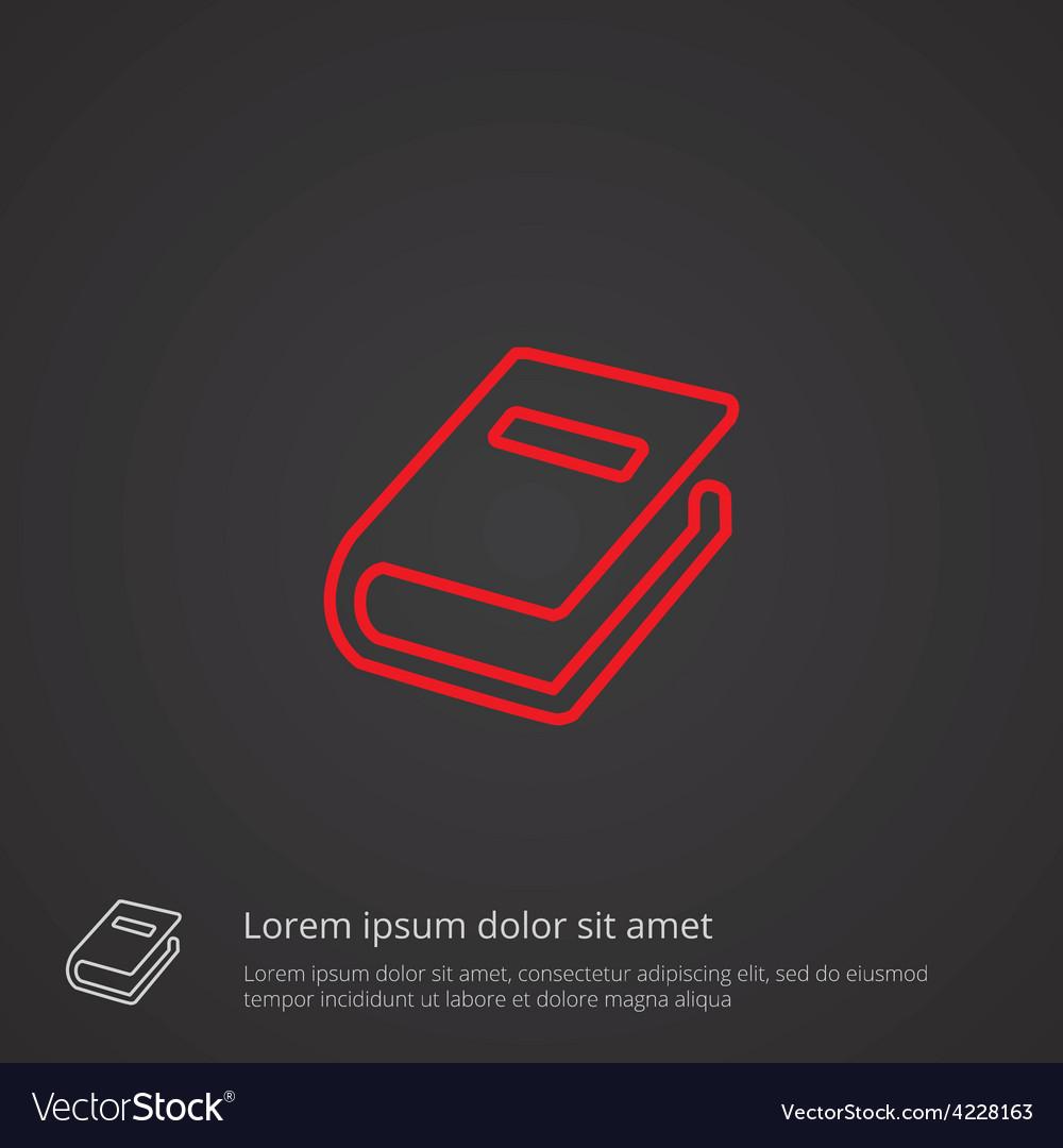 Book outline symbol red on dark background logo vector | Price: 1 Credit (USD $1)
