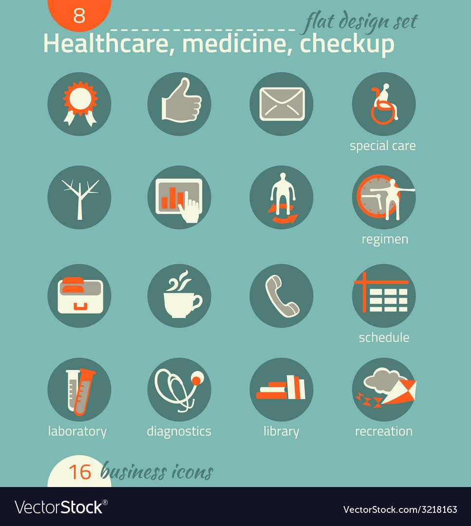 Business icon set healthcare medicine diagnostics vector | Price: 1 Credit (USD $1)