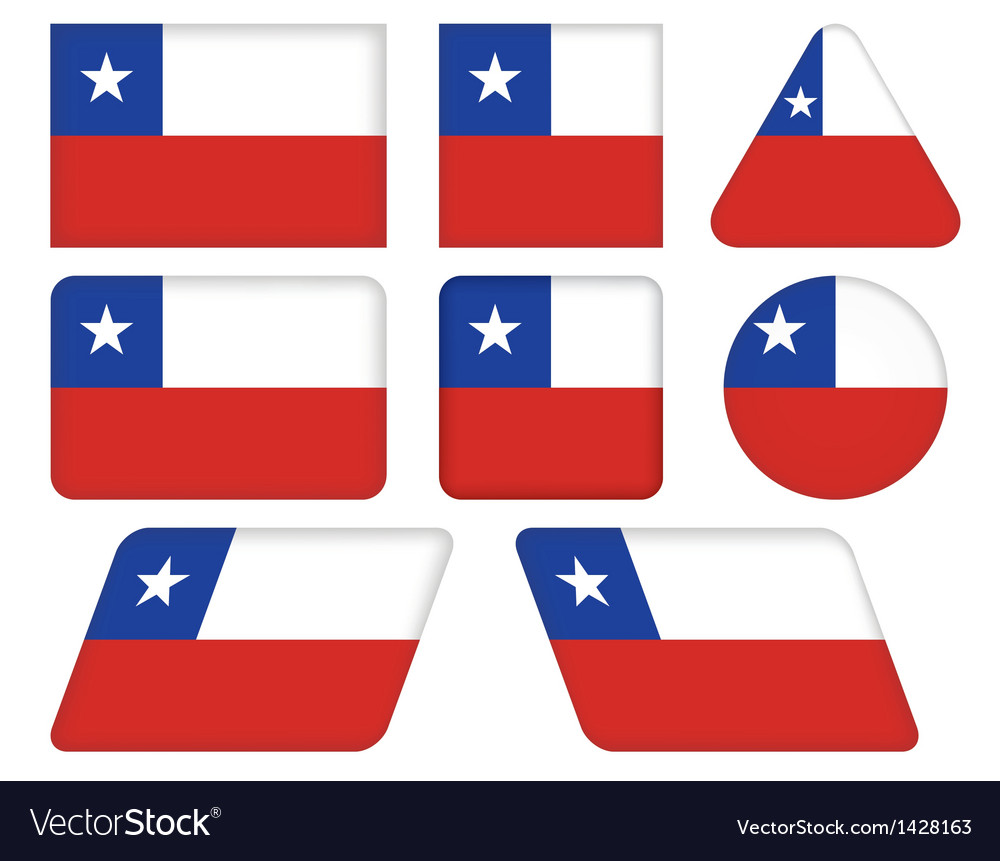 Buttons with flag of chile vector | Price: 1 Credit (USD $1)