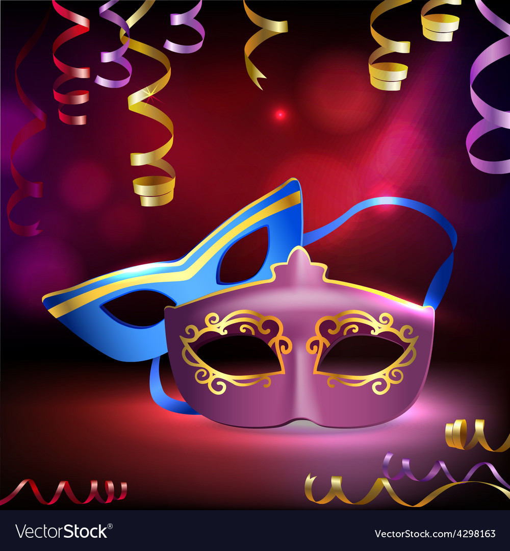 Carnival masks background vector | Price: 1 Credit (USD $1)