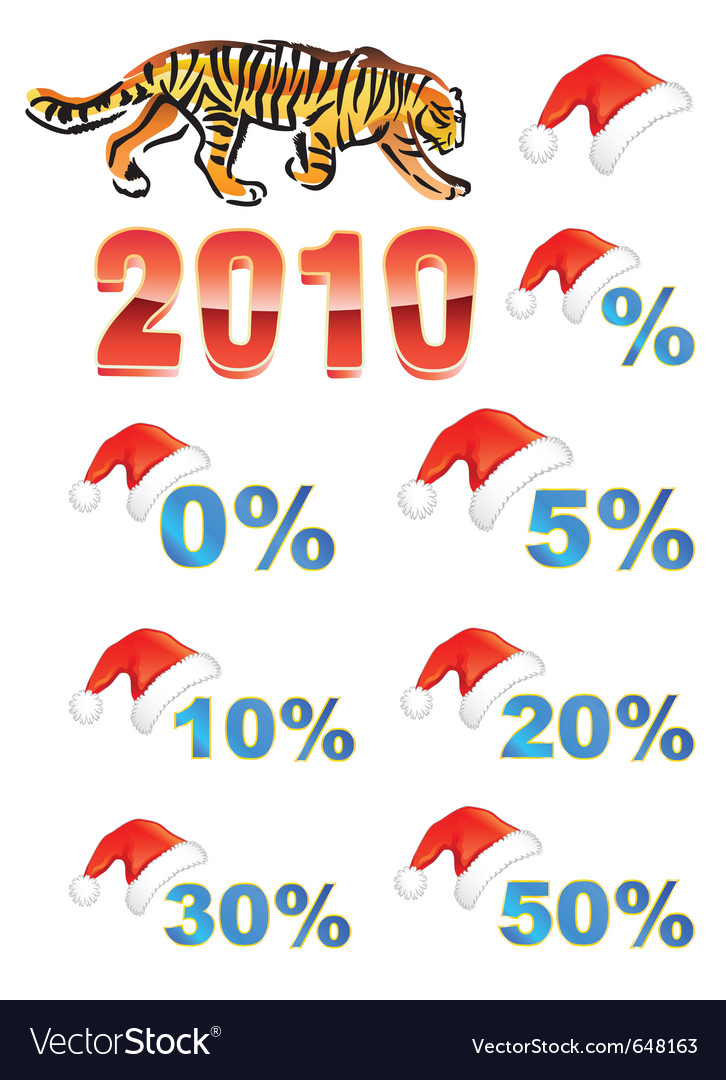 Christmas hat discounts tiger vector | Price: 1 Credit (USD $1)
