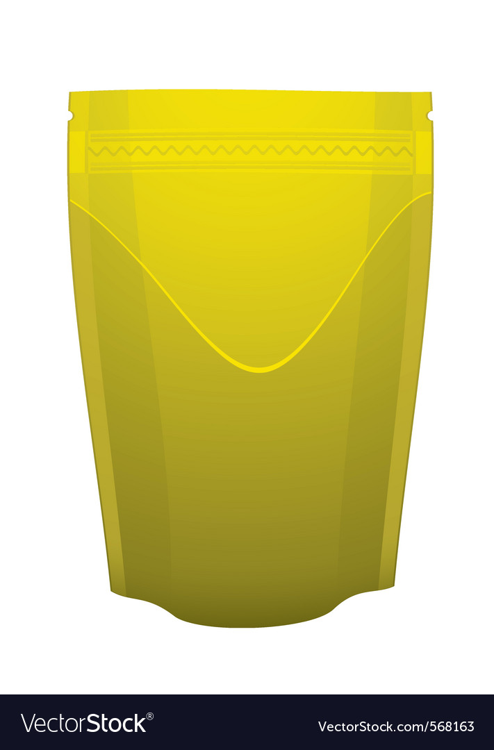 Gold metal foil sealed food pouch vector | Price: 1 Credit (USD $1)